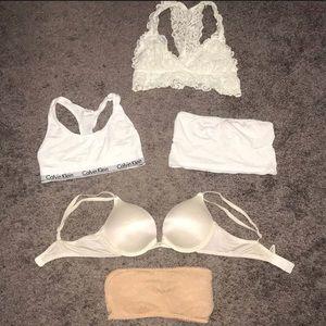 Calvin Klein sports bra & white bra bundle lot